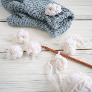 Fun Crochet Snowballs to Accessorize Mittens