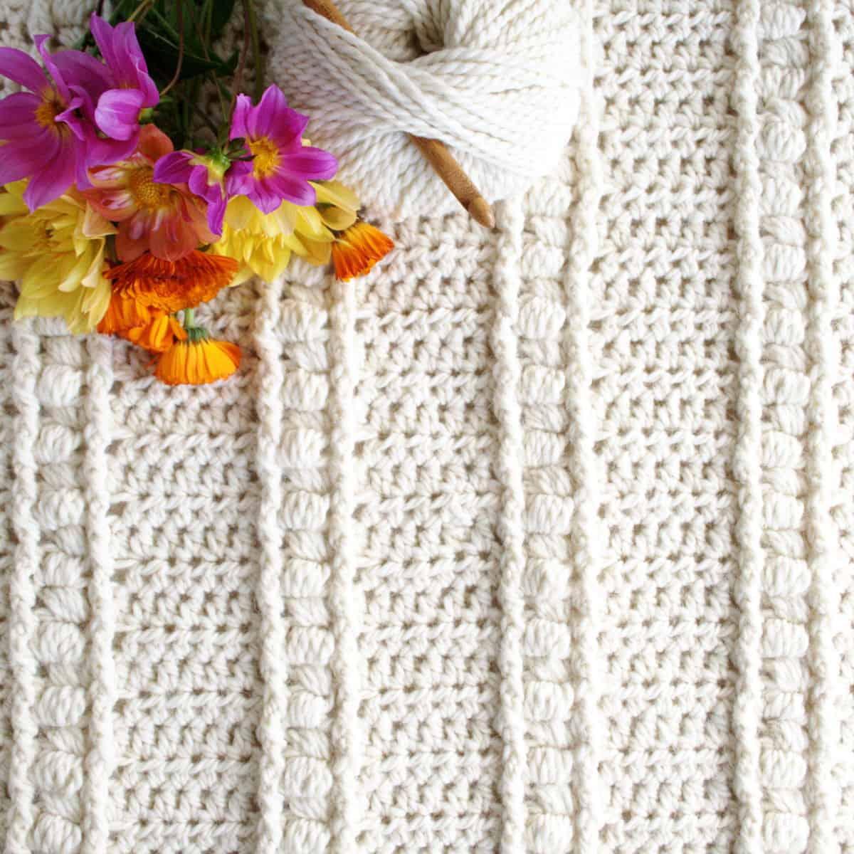 Bean Stitch Bulky Yarn Baby Blanket