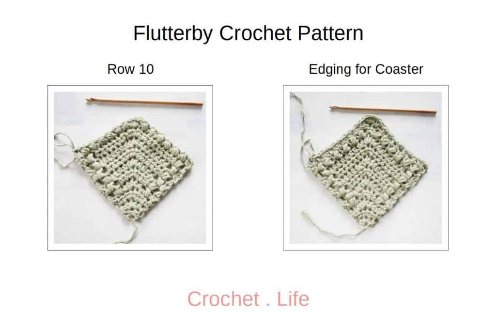Flutterby Row 10 and Edging for Coaster