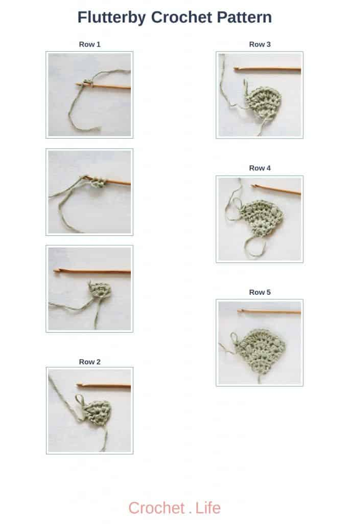 Flutterby Crochet Pattern Rows 1 through 5