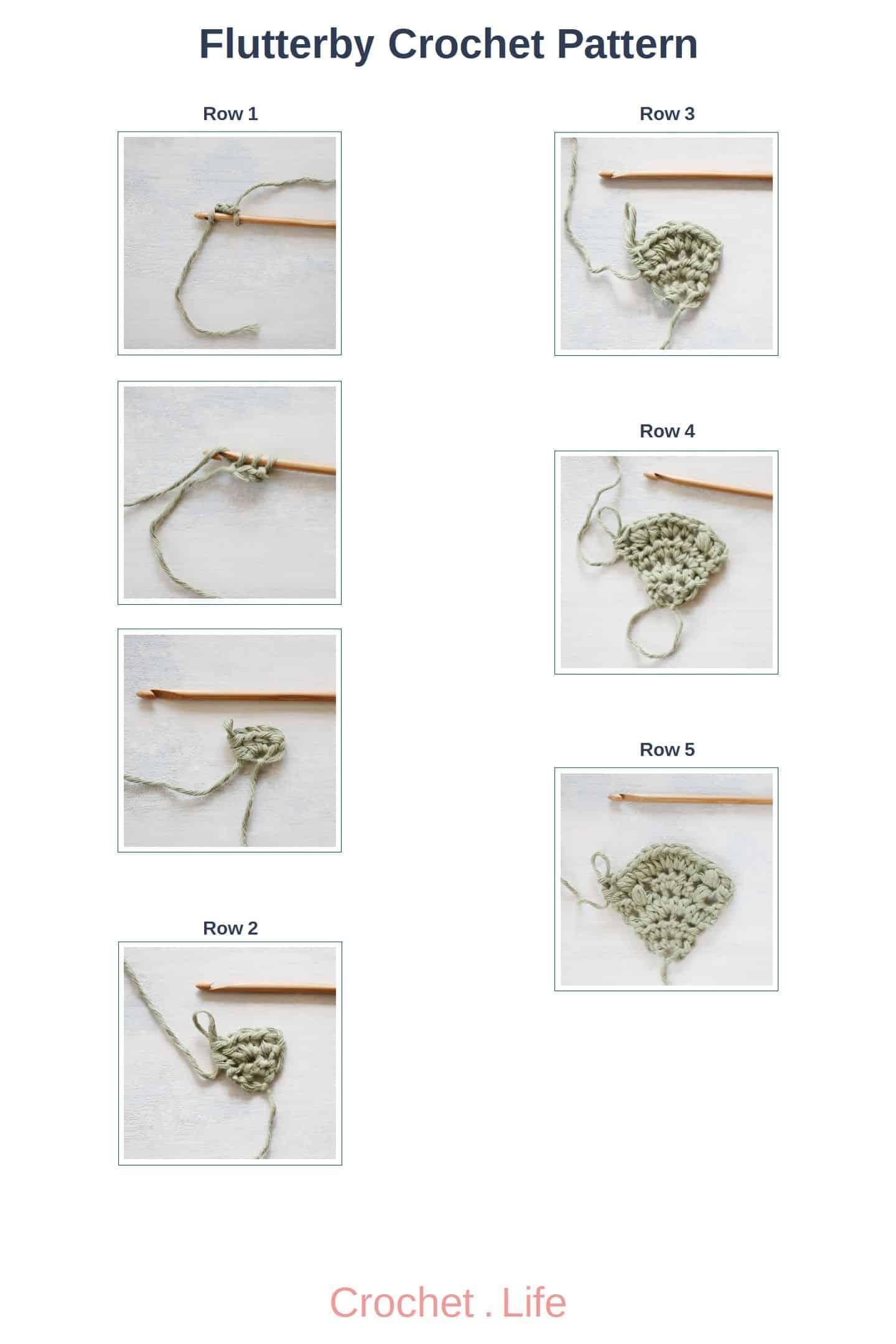 Flutterby Crochet Pattern Rows 1 through 5