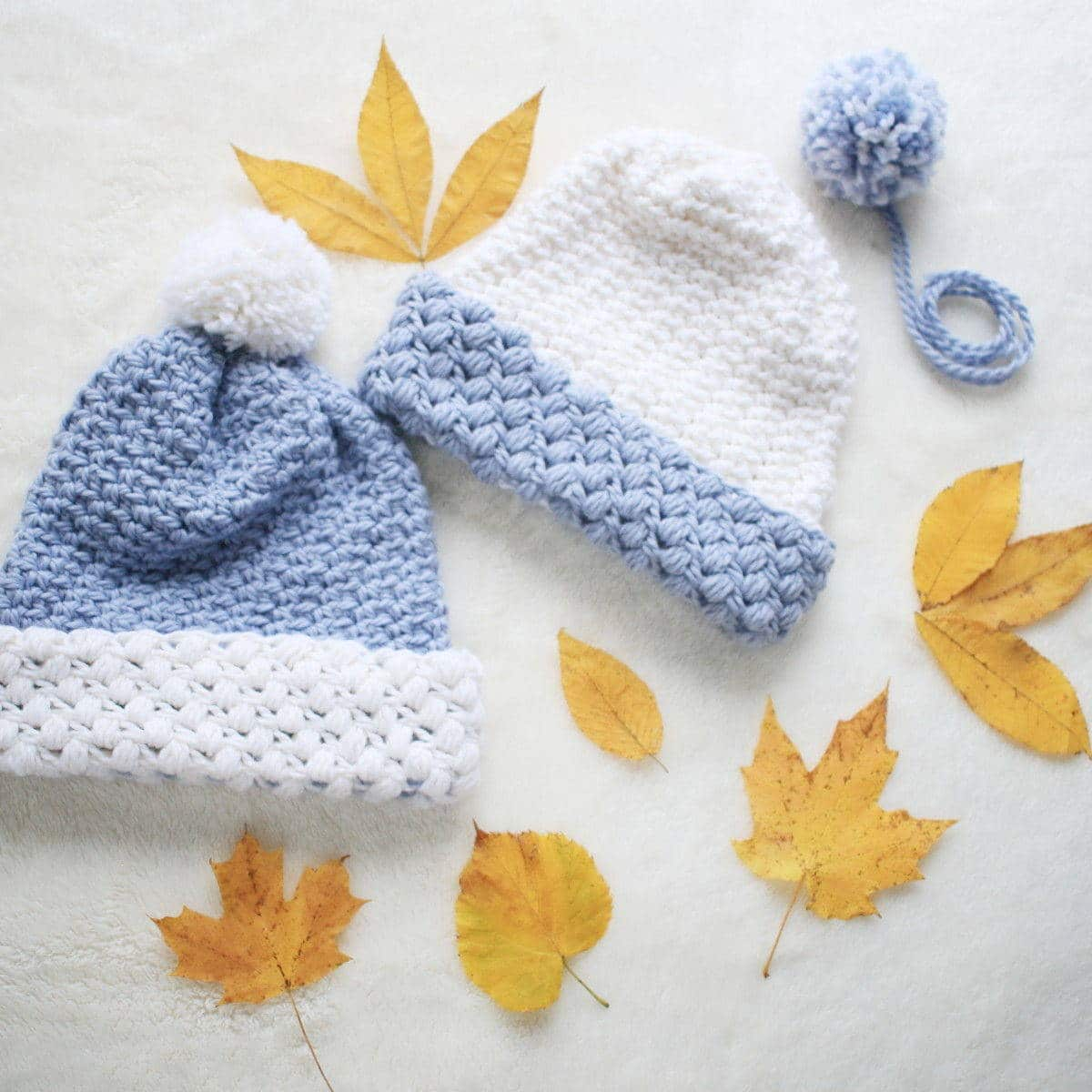 Gathered Buds crochet hats. Pom poms are optional.