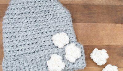 Bulky yarn This Way, That Way crochet hat pattern.