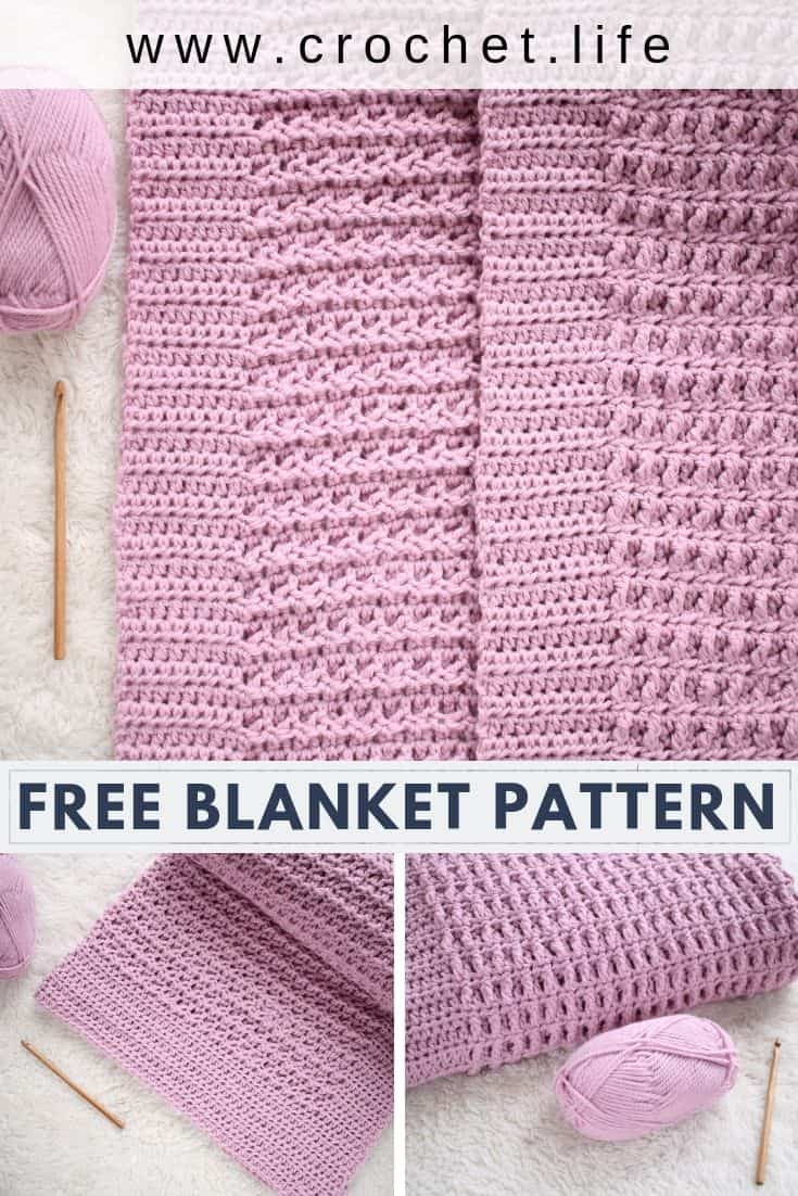 This free blanket pattern is full of beautiful crochet texture. And it has a built-in border.