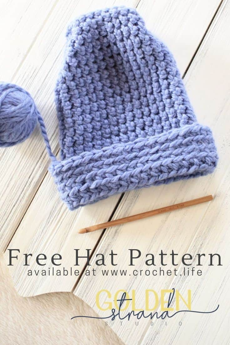 Crochet this warm peak hat using bulky yarn. The free This Way, That Way hat pattern has two options for the right side.