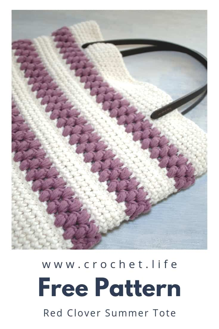 Red Clover Summer Tote Bag Free Pattern with Puff Stitches