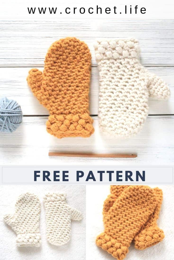 Free Crochet Mitten Pattern with Puff Stitch Cuff