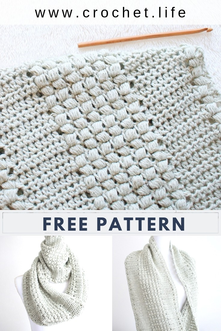 Fun textured with the Enchanted Moments puff stitch crochet Scarf pattern.