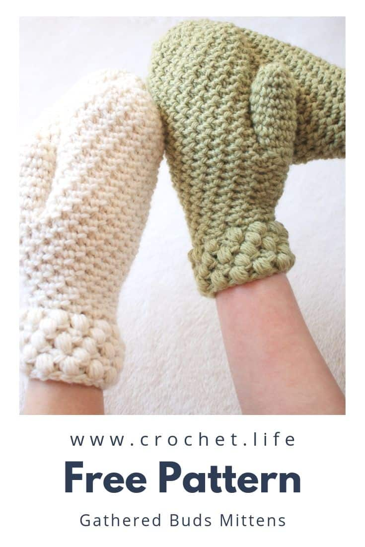 Easy Winter Mitten Project with the Gathered Buds Pattern