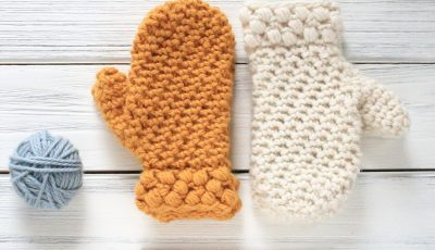 Gathered Buds Crochet Mittens for Kids