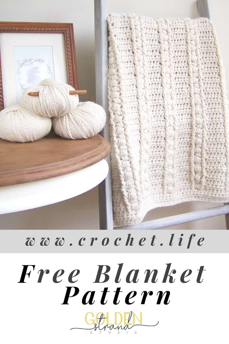 Free Bulky Blanket Pattern. Puff Stitches Accent This Snuggly Blanket.