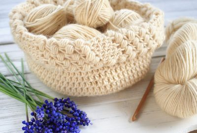 Gathered Buds Crochet Basket Pattern