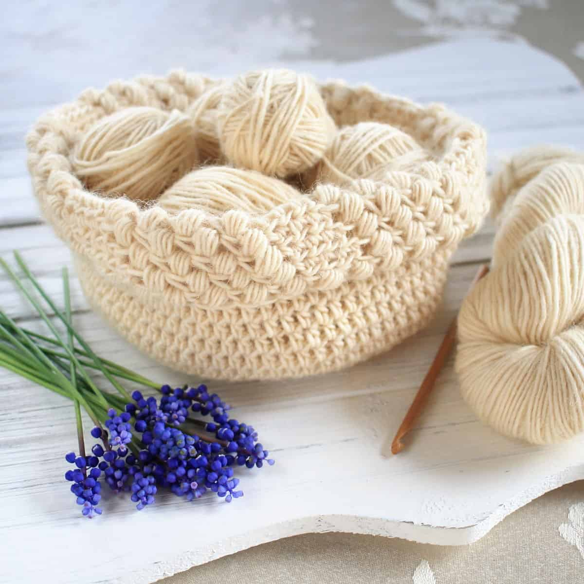 Gathered Buds Crochet Basket Pattern
