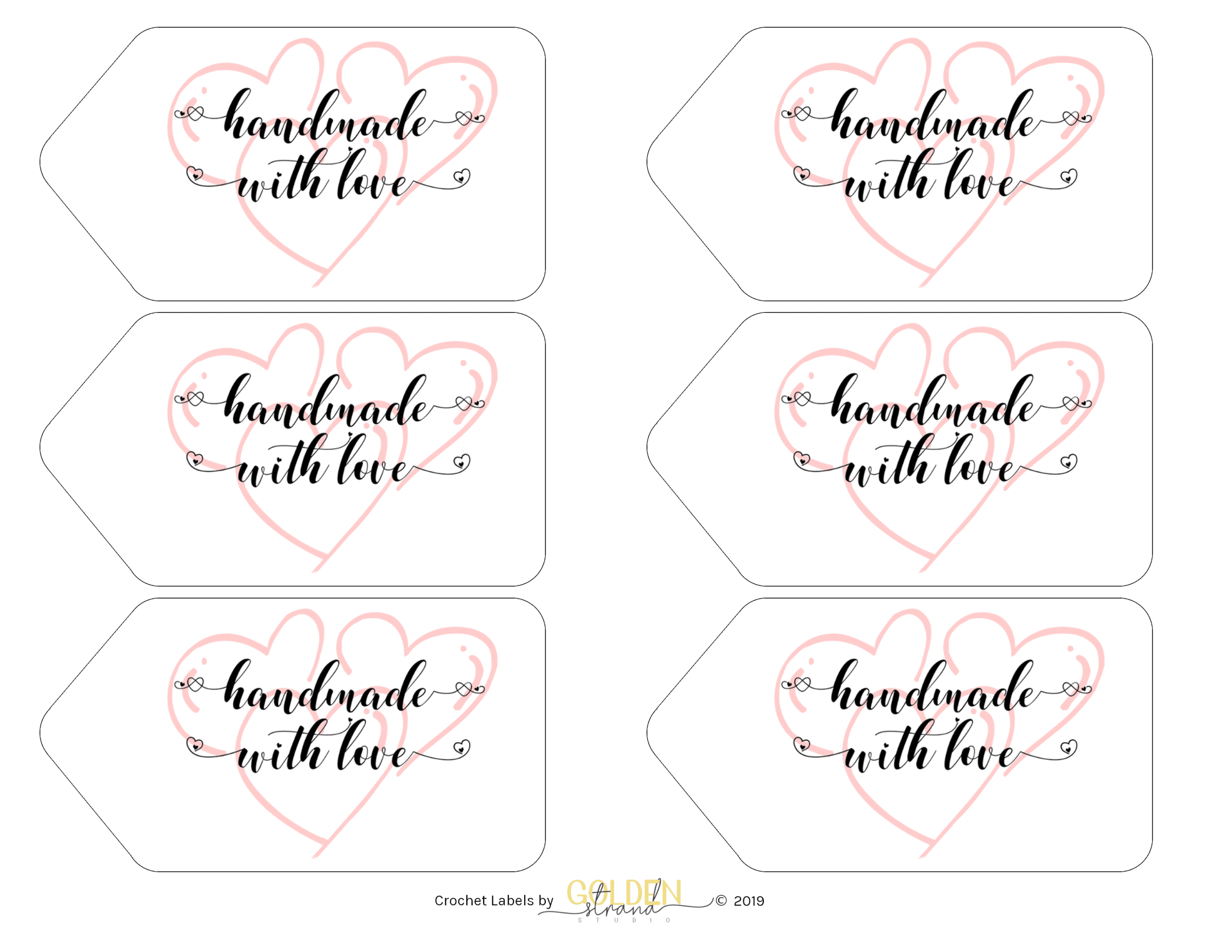 Handmade With Love Heart Printable Gift Tags
