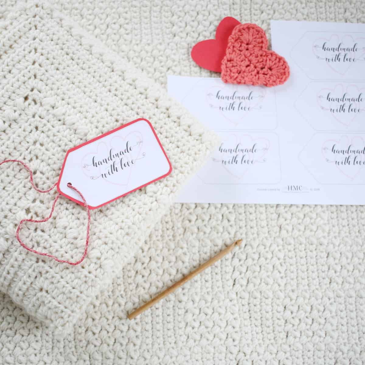 Handmade With Love Heart Gift Tags