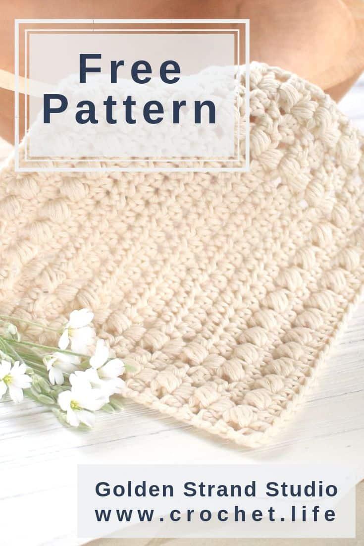 Easy Puff Stitch Textured Dishcloth Pattern